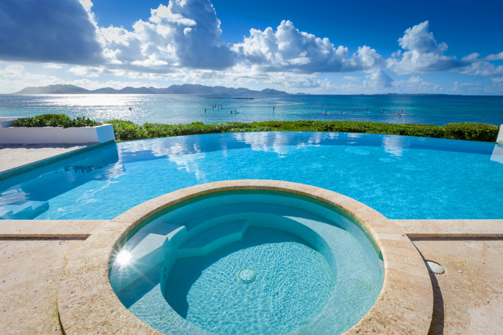 Anguilla hotels alternative Villa Alegria Jacuzzi view